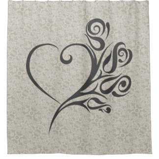 Lace Pattern with Heart and Flowers Shower Curtain