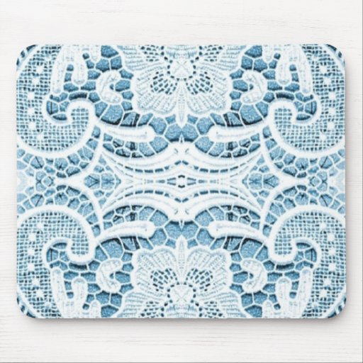 lace pattern with soft blue background mousepads
