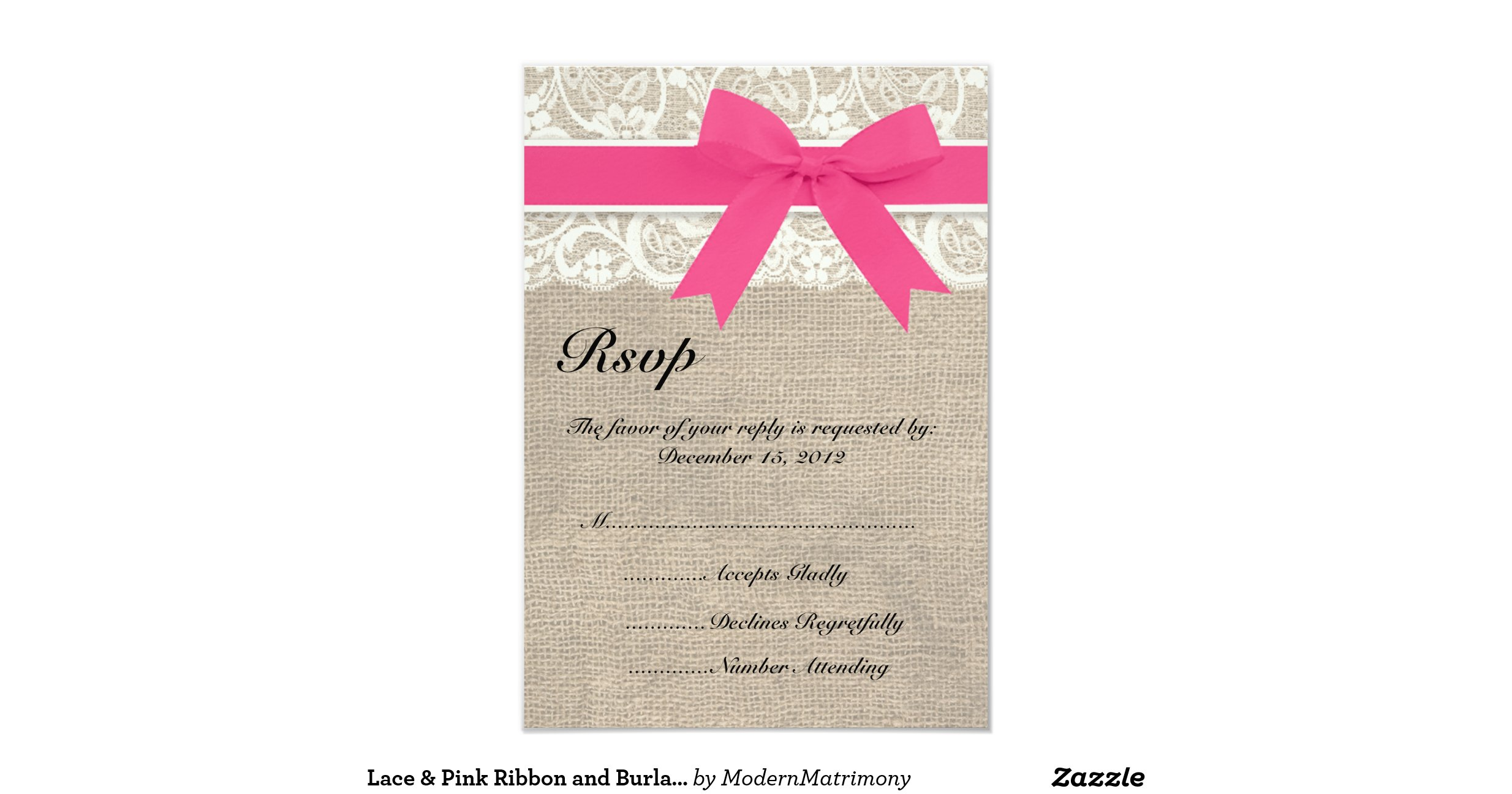 Lace pink ribbon and burlap wedding rsvp card 9 cm x 13 for Wedding invitations and rsvp cards all in one uk