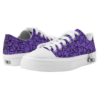 Lace, Purple and Black Printed Shoes