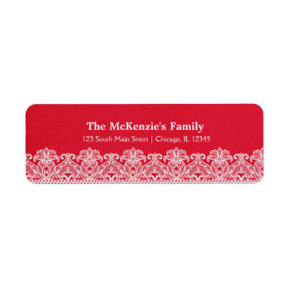 Lace (Red) Return Address Label