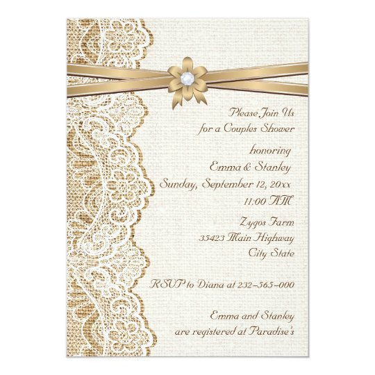 Lace ribbon flower & burlap wedding couples shower card