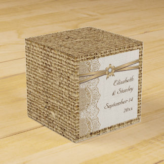 Lace, ribbon flower & burlap wedding favour box