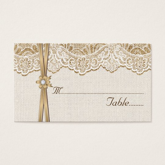 Lace, ribbon & flower on burlap wedding place