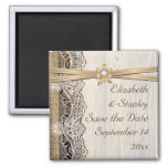 Lace, ribbon flower & wood wedding Save the Date