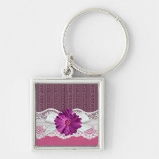 Lace Ribbon Gerbera Pink Damask Silver-Colored Square Key Ring