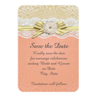 Lace Ribbon Gold/Coral Damask Save the date Card