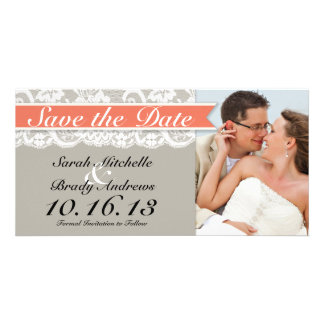 Lace Ribbon Gray and Coral Save the Date Picture Card