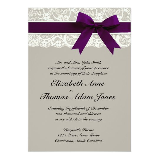 Lace Ribbon Grey and Plum Wedding Invitation