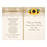 Lace ribbon & sunflowers on burlap wedding program 21.5 cm x 28 cm flyer
