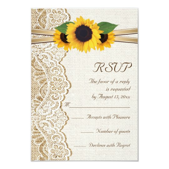Lace, ribbon & sunflowers on burlap wedding RSVP