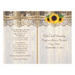 Lace ribbon & sunflowers on wood wedding program 21.5 cm x 28 cm flyer