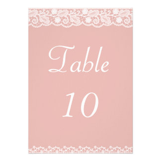 Lace Ribbon Table Number Personalized Invitations