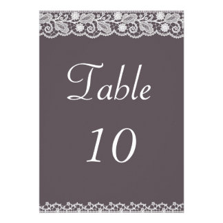 Lace Ribbon Table Number Custom Announcement