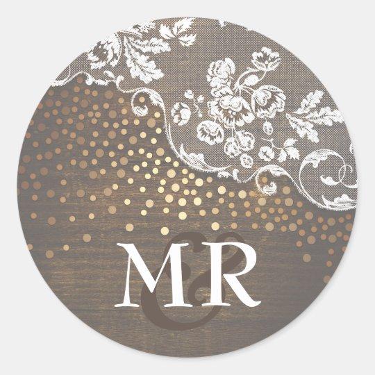 Lace Rustic Wood Gold Confetti Barn Wedding Classic