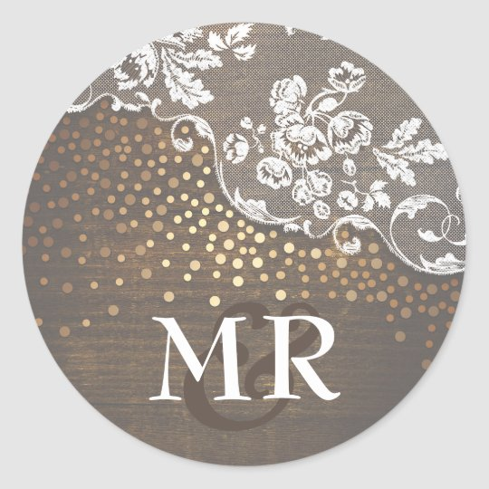Lace Rustic Wood Gold Confetti Barn Wedding Round