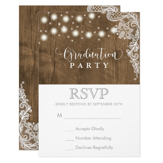 Lace String Light Rustic Graduation Party RSVP Card