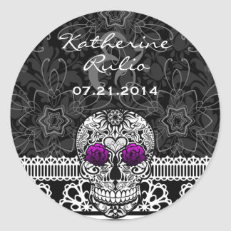 Lace Sugar Skull Day of the Dead Save the Date Classic Round Sticker