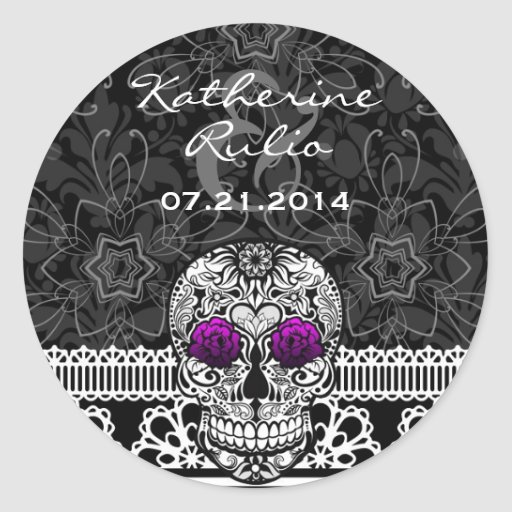Lace Sugar Skull Day of the Dead Save the Date Round Stickers