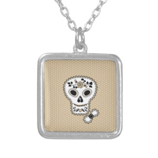 Lace Sugar Skull Necklace