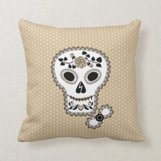 Lace Sugar Skull Throw Pillow