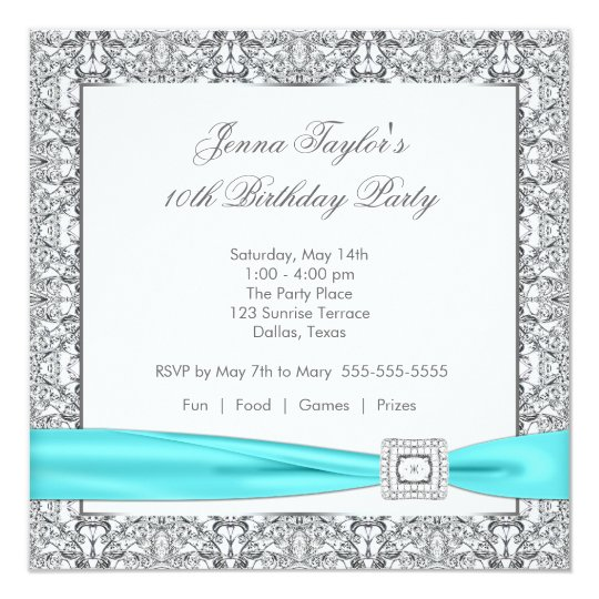 Lace Teal Blue Diamond Girls10th Birthday Party Card