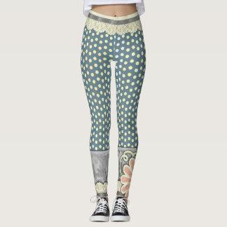 Lace trim Polka Dots & Flower Design Leggings