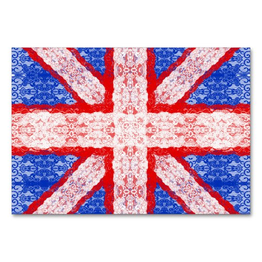 Lace Union Jack England Flag in Red, White,