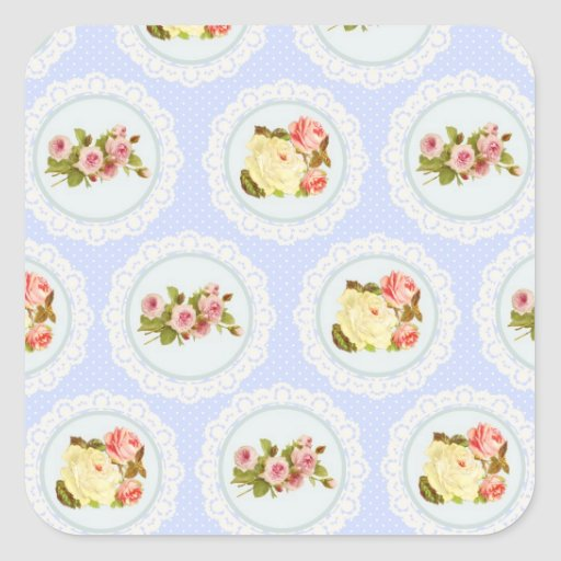 Lace Victorian Floral pattern Square Sticker