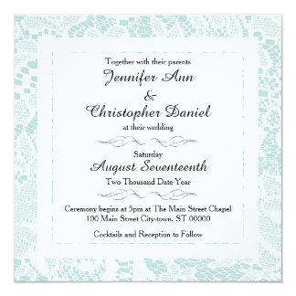 Lace Wedding Invitations - Teal Blue Square Invite