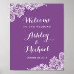 Lace Wedding Reception Sign | Trendy Violet Purple