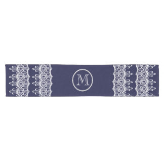 Lace With Pearls Monogram Accent Short Table Runner