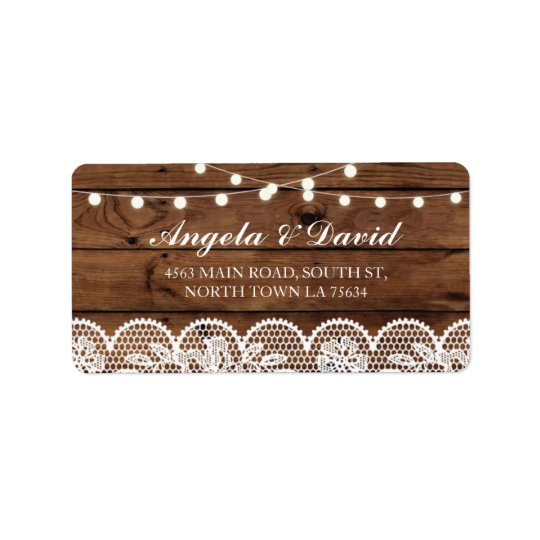 Lace Wood Floral Rustic Elegant Address Labels