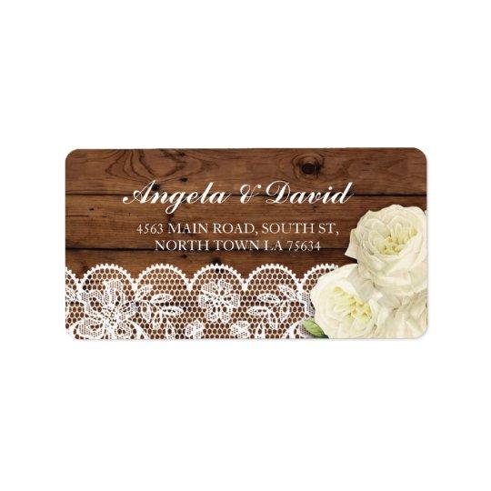 Lace Wood Floral Rustic Elegant Address Labels