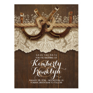 Lace Wood Horseshoes Rustic Country Save the Date Postcard
