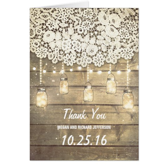 Lace Wood Lights Mason Jar Barn Wedding Thank