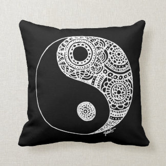 Lace Yin Yang Black and White Cushion