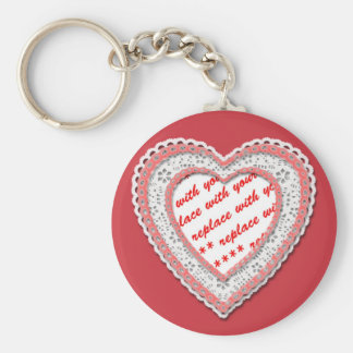 Laced Heart Shaped Photo Frame Key Chain