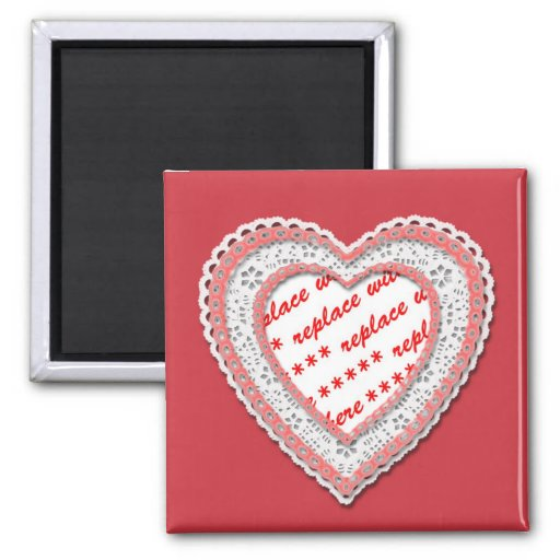 Laced Heart Shaped Photo Frame Magnets
