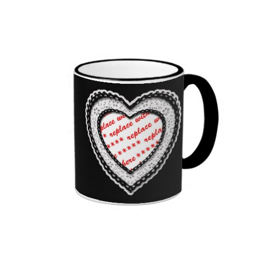 Laced Heart Shaped Photo Frame Mugs