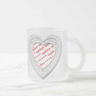 Laced Heart Shaped Photo Frame Frosted Glass Mug
