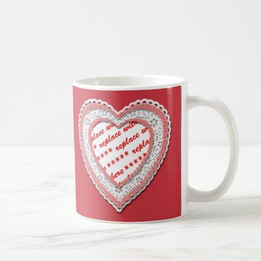 Laced Heart Shaped Photo Frame Coffee Mugs