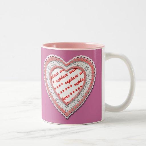 Laced Heart Shaped Photo Frame Mug
