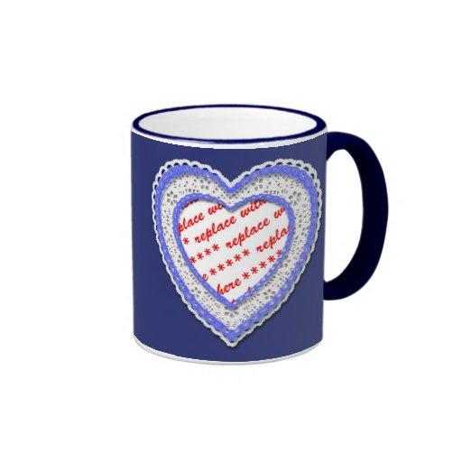Laced Heart Shaped Photo Frame Coffee Mug