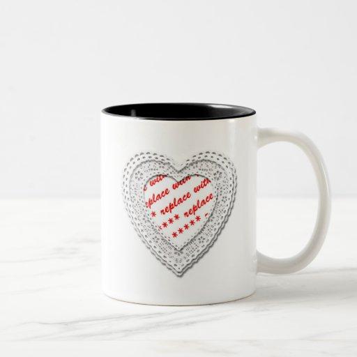 Laced Heart Shaped Photo Frame Template Mugs