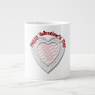 Laced Heart Shaped Valentine Photo Frame Extra Large Mugs