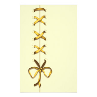 Laced Up Gold Ribbon Stationery Design