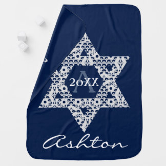 Lacey White Star of David with Custom Text Pramblankets