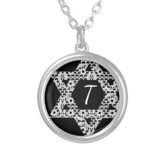 Lacey White Star of David with Custom Text Silver Plated Necklace