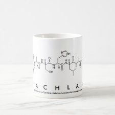 Mug featuring the name Lachlan spelled out in the single letter amino acid code